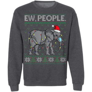 Ew People Elephant Face Mask Santa Ugly Christmas Sweater