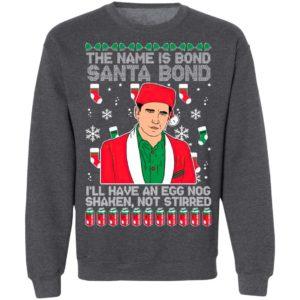 The Name Is Bond Santa Bond I'll Have An Eggnog Shaken Not Stirred Ugly Christmas Sweater