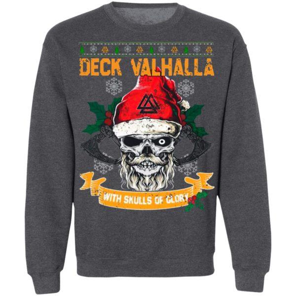 Santa Claus Skull Deck Valhalla With Skulls Of Glory Ugly Christmas Sweatshirt