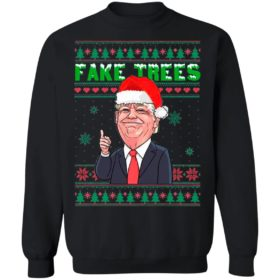 Fake Trees Red Tie Trump for President No Joe Biden Ugly Christmas Sweater