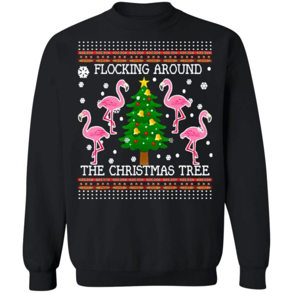 Flamingos Flocking Around The Christmas Tree Ugly Sweater