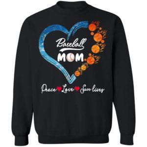 Peace Love Save Lives Baseball Mom Heart Shirt, Ladies Tee