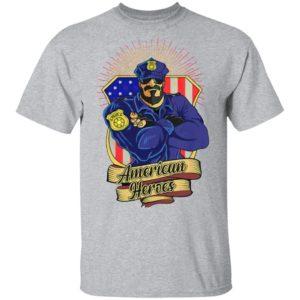Police Man Ameican Heroes Us Flag Shirt