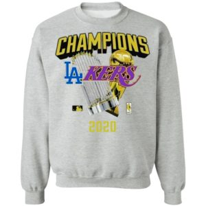 Los Angeles Dodgers Lakers 2020 World Champions Trophies Shirt
