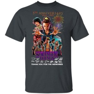 Stranger Things 5th Anniversary 2016 2021 Thank You For The Memories Signatures Shirt