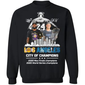 Kobe Bryant LeBron James and Corey Seager Los Angeles Lakers Dodgers City Of Champions 2020 Signatures Shirt