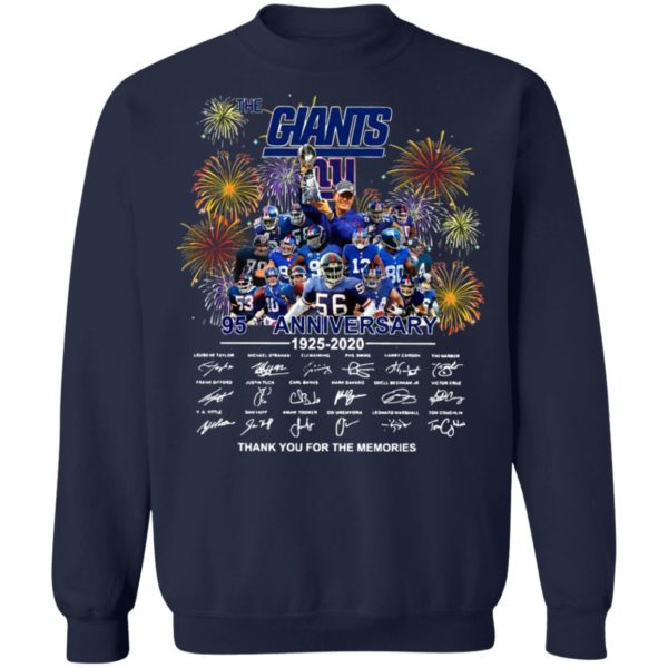 The New York Giants 95th Anniversary 1925 2020 Thank You For The Memories Signatures Shirt