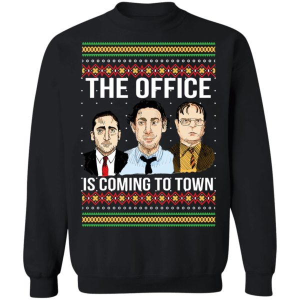 The Offfce Is Coming To Town Michael Scott Jim Halpert Dwight Schrute Ugly Christmas Sweater