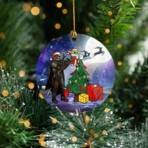 Santa Baby Yoda Mandalorian Star Wars Tree Decoration Christmas Ornament