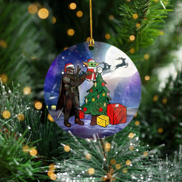 Santa Baby Yoda Mandalorian Star Wars Tree Decoration Christmas Ornament