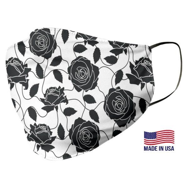 Black Rose Pattern White Face Mask