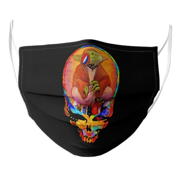 Yoda Listening Music Grateful Skull face mask