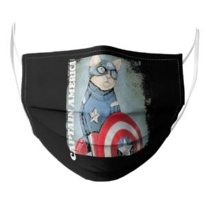 Cat Captain America face mask
