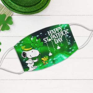 Leprechaun Snoopy Snoopy Woodstock Happy St Patrick's Day Face Mask