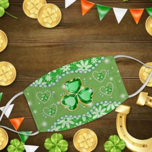 Green Diamond Printed Lucky Shamrock Face Mask