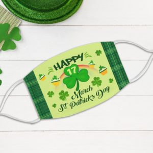 Happy St Patrick's Day 3 Leaf Shamrocks Green Buffalo Face Mask