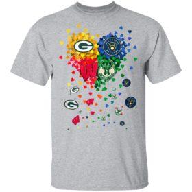Heart Green Bay Packers And Milwaukee Brewers Milwaukee Bucks Football Shirt