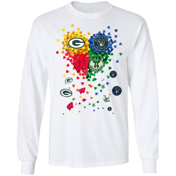 Heart Green Bay Packers And Milwaukee Brewers MiHeart Green Bay Packers And Milwaukee Brewers Milwaukee Bucks Football Shirtlwaukee Bucks Football Shirt