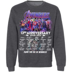 Avengers 13Th Anniversary 2008 2021 Thank You For The Memories Signatures Shirt