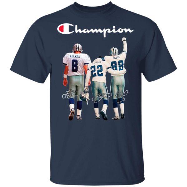 Troy Aikman 8 Emmitt Smith 22 and Michael Irvin 88 Dallas Cowboys Champion 2020 Signatures shirt