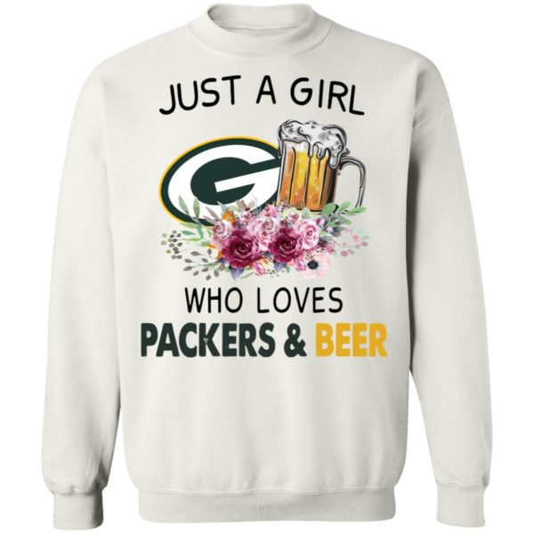 Just A Girl Who Loves Green Bay Packers And Beer Flowers Shirt, ladies tee