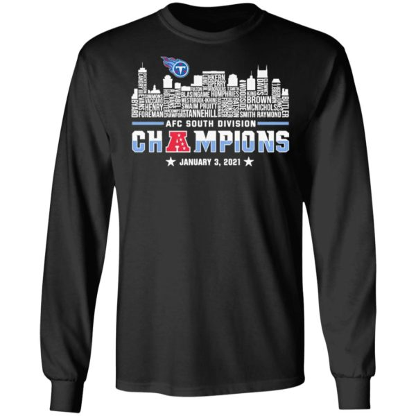 Tennessee Titans 2020 AFC South Division Champions January 3 2021 shirt