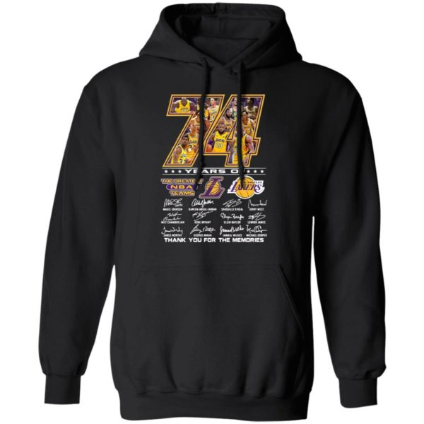 Los Angeles Lakers 74 Years Of The Greatest Nba Teams Thank You For The Memories Signatures Shirt