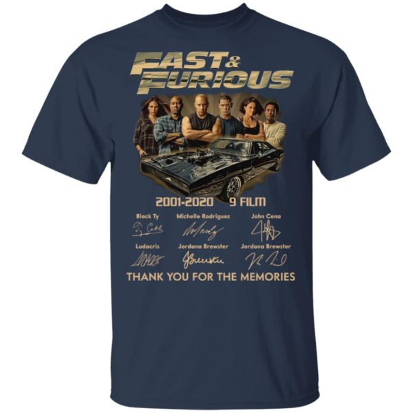 Fast _ Furious 2001-2020 9 Film Thank You For The Memories Signatures Shirt