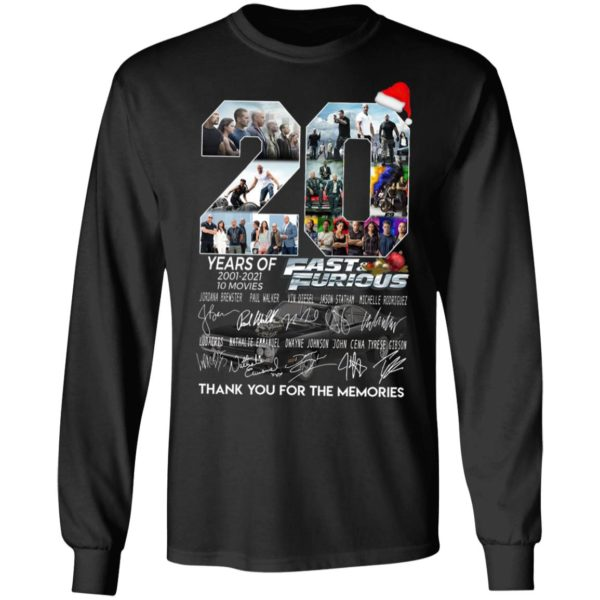 20 Years Of 2001 2021 10 Movies Fast Furious Thank You For The Memories Signatures Shirt