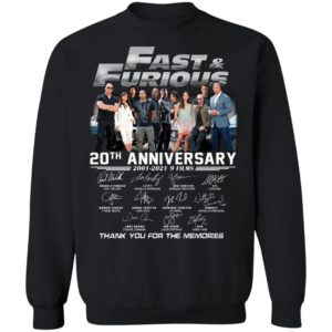 Fast & Furious 20th Anniversary 2001-2020 9 Film Thank You For The Memories Signatures Shirt