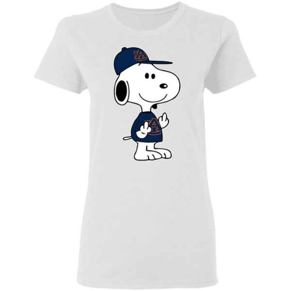Snoopy Auburn Tigers NCAA Double Middle Fingers Fck You Shirt