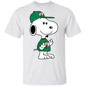 Snoopy Boston Celtics NBA Double Middle Fingers Fck You Shirt