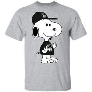 Snoopy Brooklyn Nets NBA Double Middle Fingers Fck You Shirt