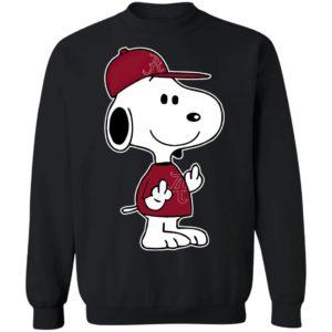 Snoopy Alabama Crimson Tide NCAA Double Middle Fingers Fck You Shirt