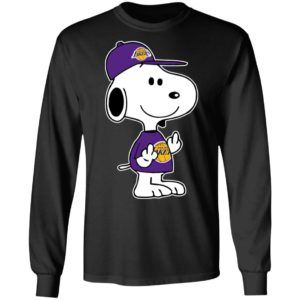 Snoopy Los Angeles Lakers NBA Double Middle Fingers Fck You Shirt