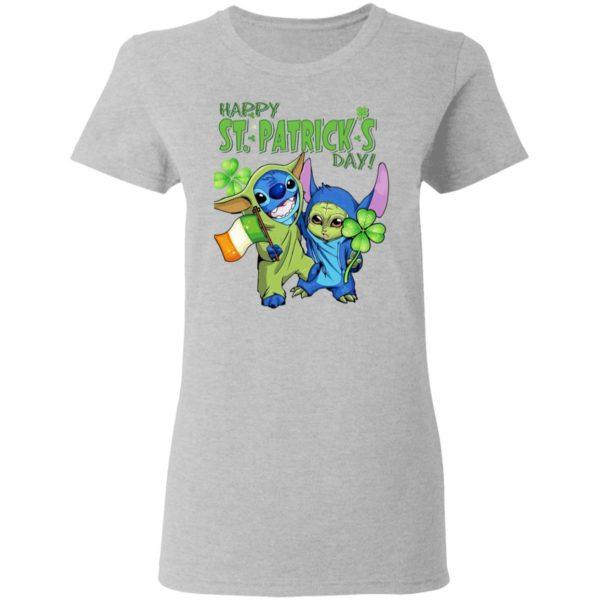 Baby Yoda and Stitch Irish Friends Happy St. Patrick's day shirt