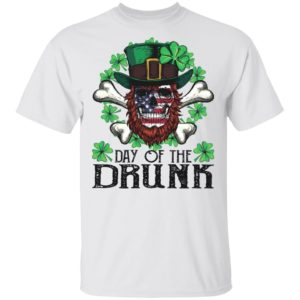 Day of The Drunk American Flag Skull Patrick's Day Shirt