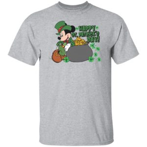 Green Mickey Mouse Happy St Patrick's Day Gold Coin Shirt