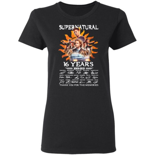 Supernatural 16 Years 2005 2021 Signatures Thank You For The Memories Shirt