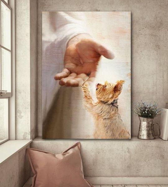 Yorkshire Terrier jesus hand god lovers Poster Canvas