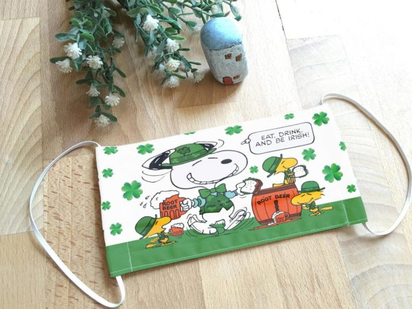 Snoopy Eat Drink and Be Irish St Patrick's Day Face Mask