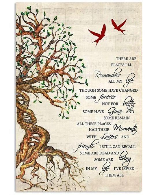 The beatles in my life lyrics cardinals tree Poster Canvas
