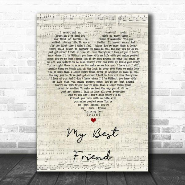 Tim McGraw My Best Friend Script Heart Song Lyric Quote Poster Canvas