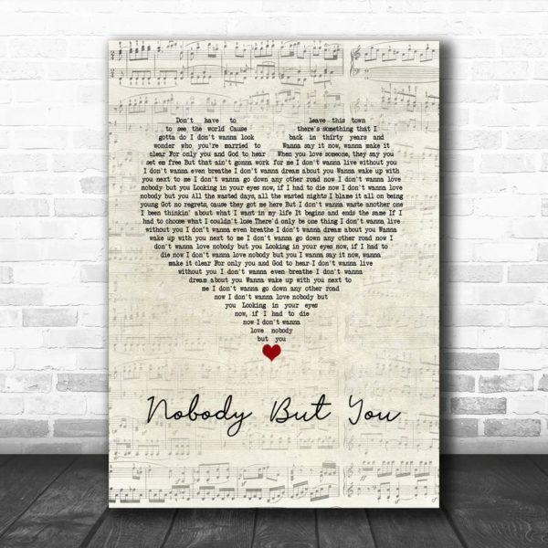 Blake Shelton Nobody But You Script Heart Song Lyric Wall Art Poster Canvas