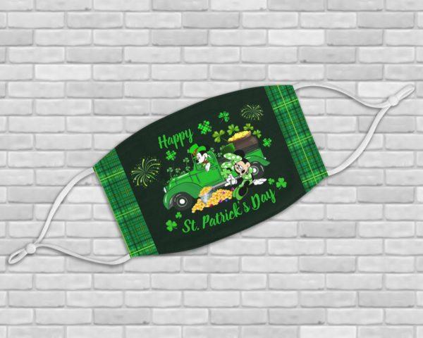 Mickey Minnie Happy St Patrick's Day face Mask