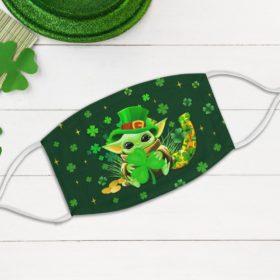 Baby Yoda Shamrock Leprechaun Yoda Face Mask
