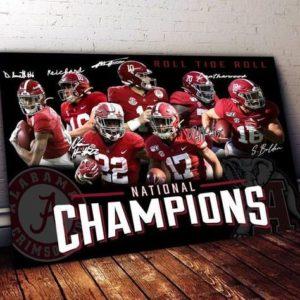 Alabama crimson tide team signed Poster Canvas