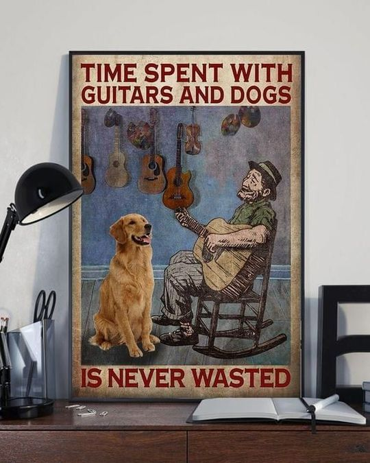Time spent with guitars and dogs is never wasted Poster Canvas