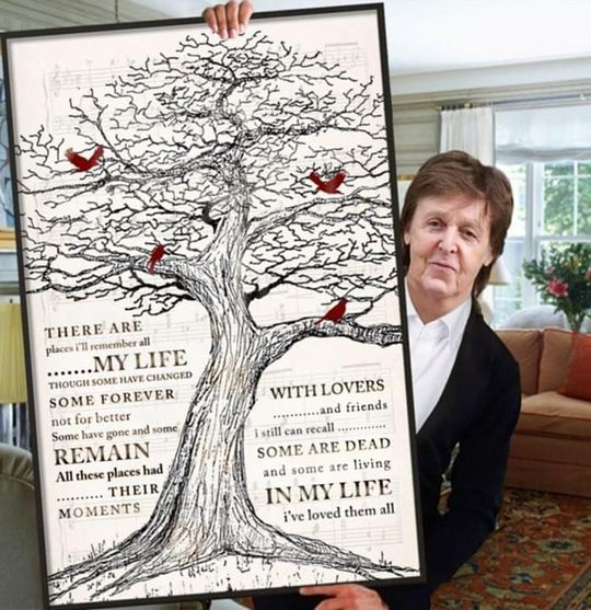 The Beatles In My Life Lyrics Cardinals On Old Tree Poster Canvas