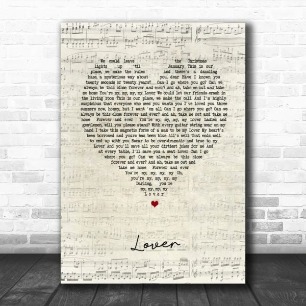 Taylor Swift Lover Script Heart Song Lyric Music Poster Canvas